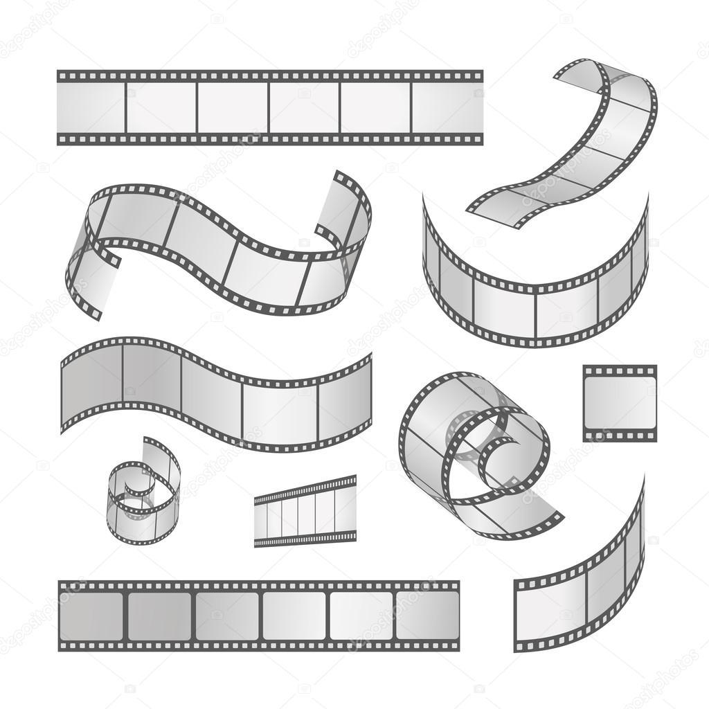 hight resolution of slide film frame set film roll 35mm media filmstrip negative and strip vector