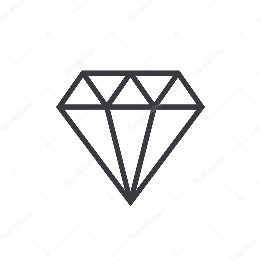 Diamond Outline Icon Modern Minimal Flat Design Style