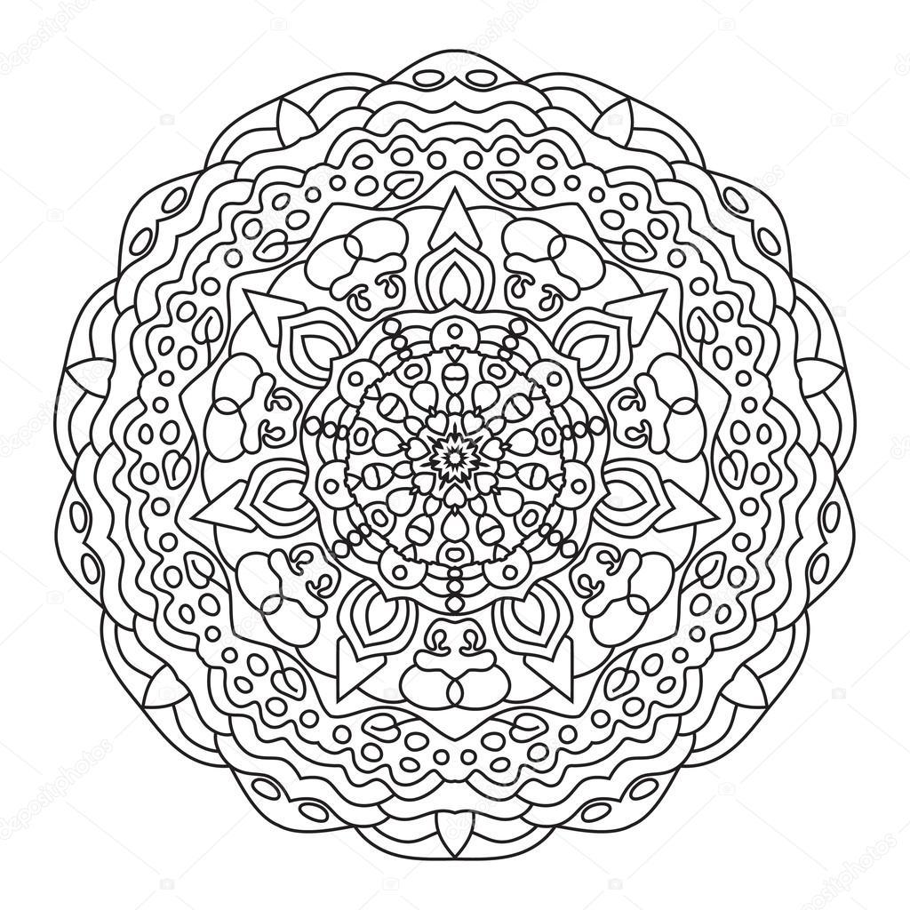 Circular symmetric ethnic pattern. Mandala coloring