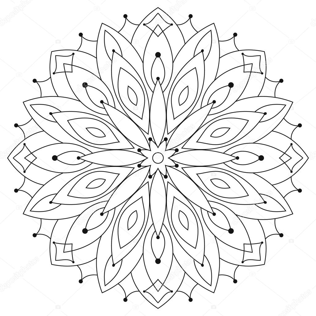 Mandala rotondo etnico orientale. Disegni da colorare per