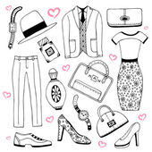 Women clothes and accessories summer icon set — Stock