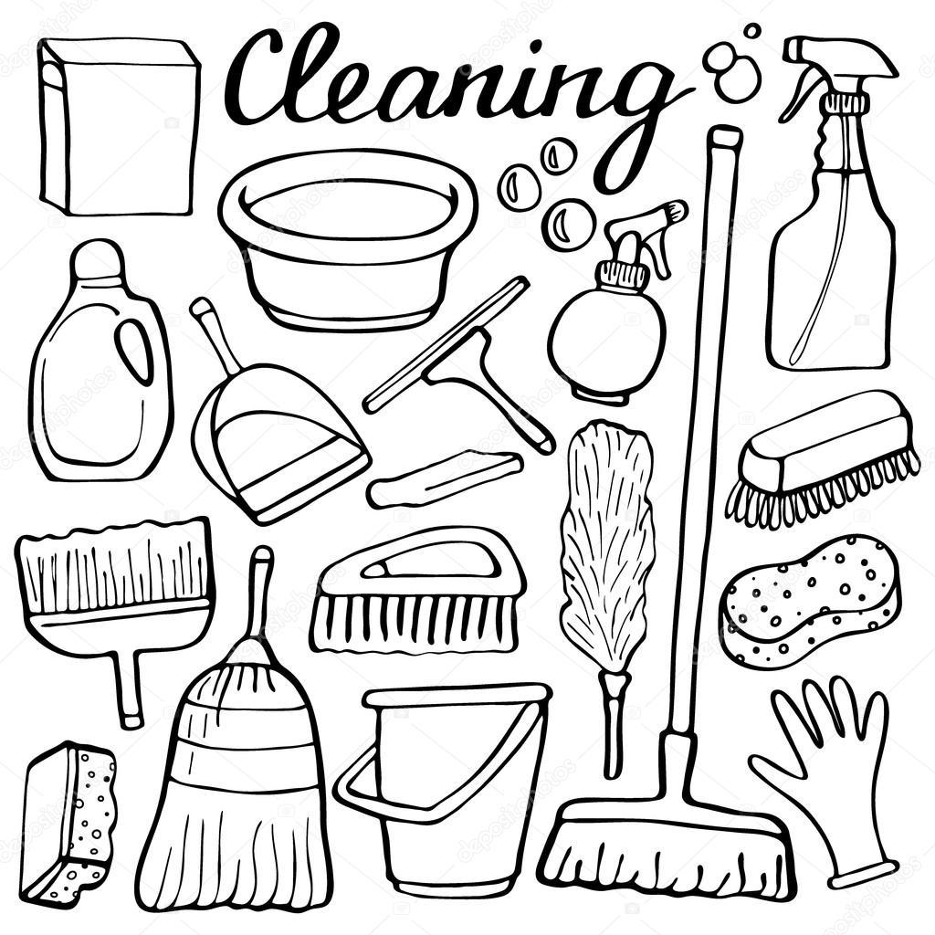 Outils de nettoyage définie. Collection de bandes