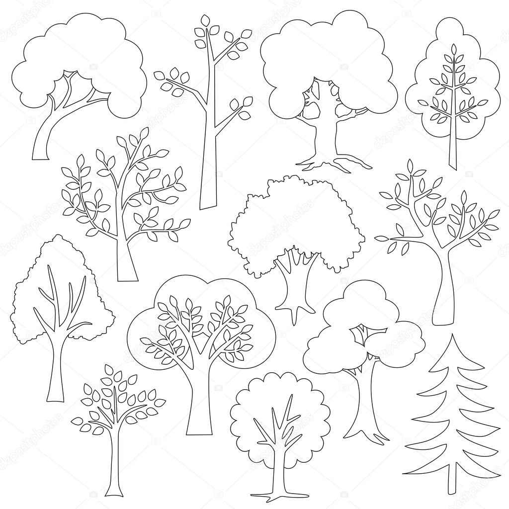 set of outline trees icons — Stock Vector © scrapster