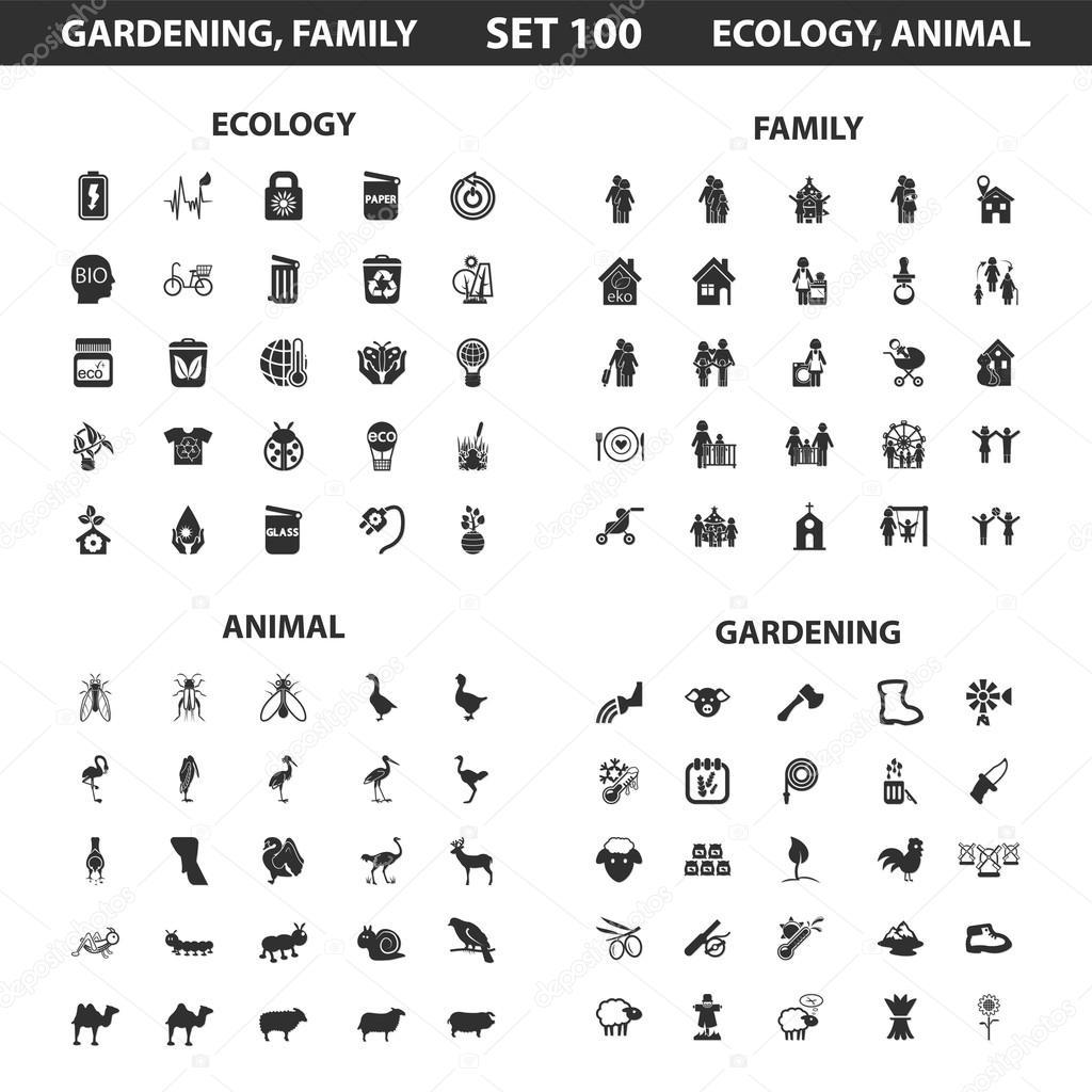 Ecologie, famille situé à 100 simples icônes noires