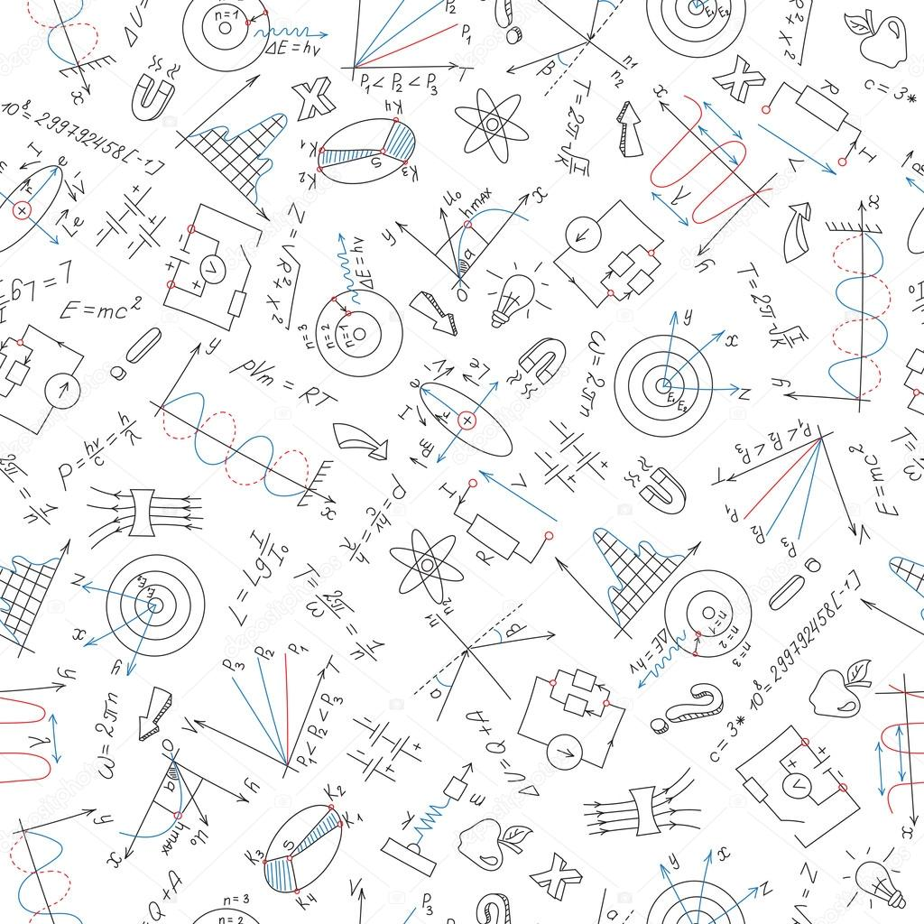 Seamless pattern with formulas,graphs, and equipment as
