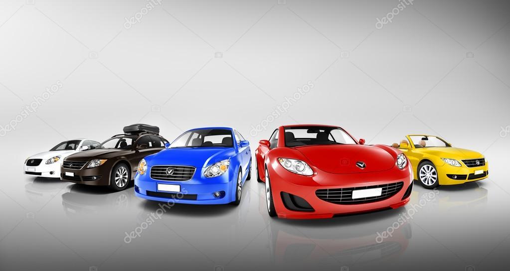 multi coloridas carros modernos