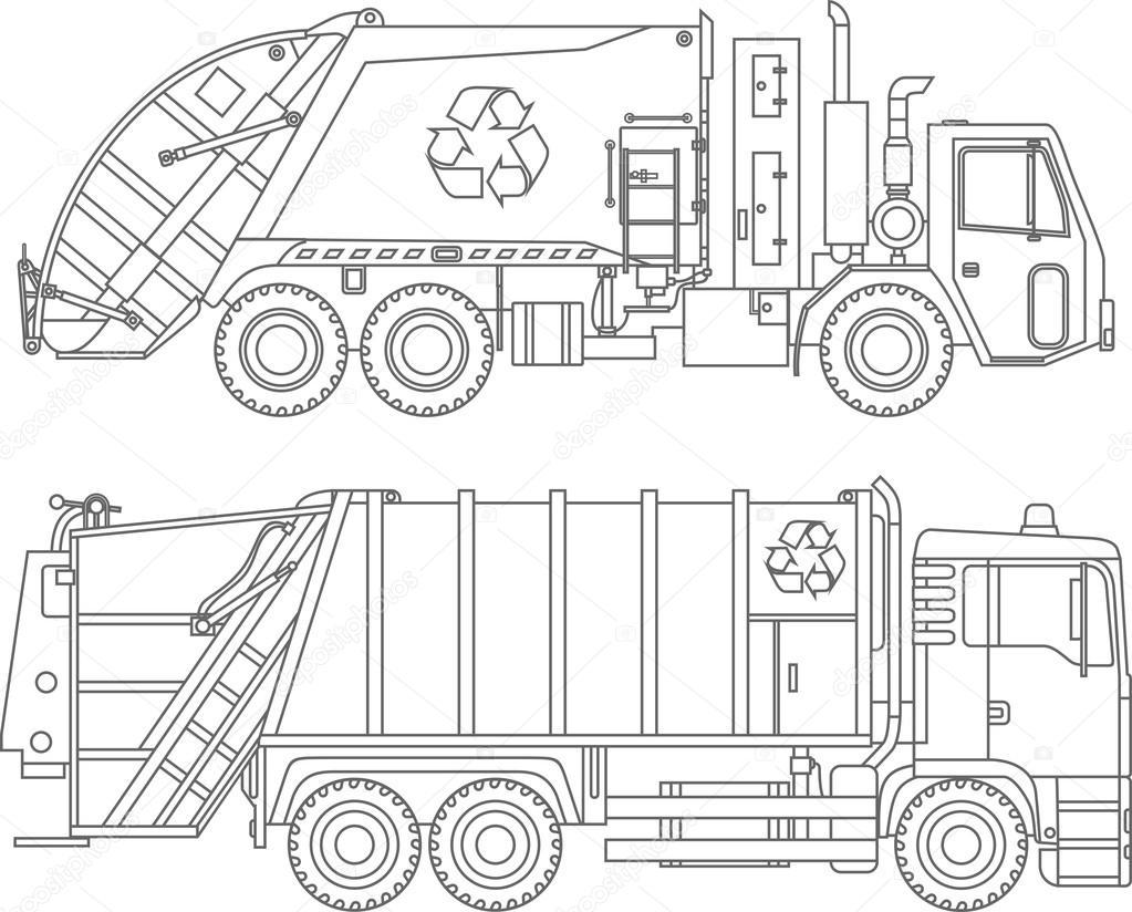 Dibujos para colorear. Conjunto de diferentes camiones de