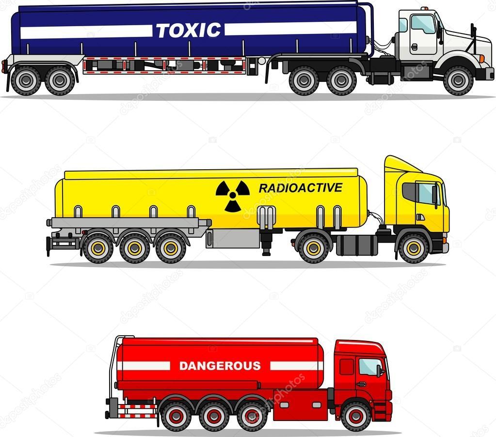 Satz Von Zisterne Lkw Chemische, Radioaktive, Giftige, Gefährliche