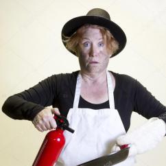 Kitchen Hats Companies That Spray Paint Cabinets 厨房灾难 朝圣帽子和灭火器 图库照片 C Karenfoleyphotography 101480930