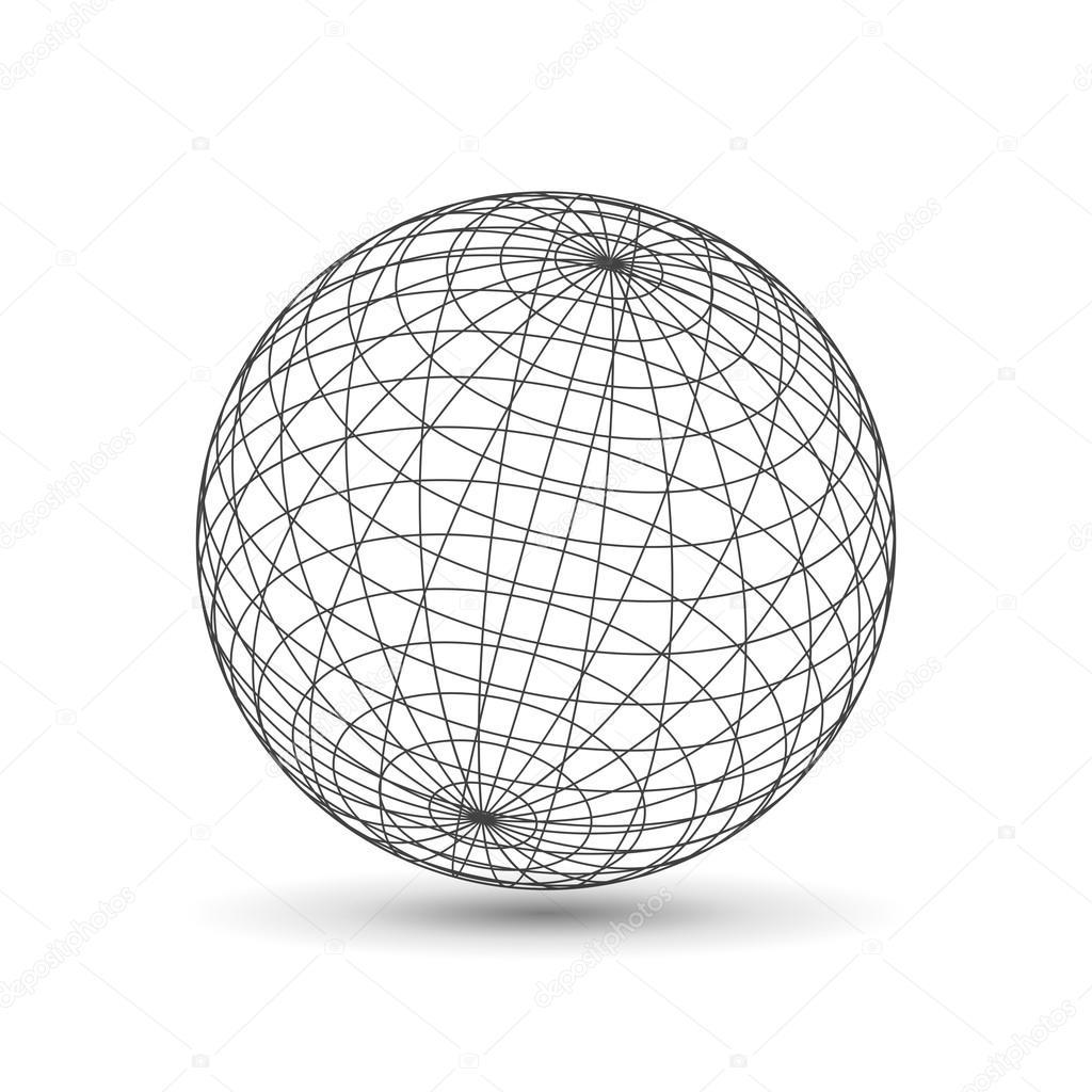Icône de globe filaire, version 3d — Image vectorielle