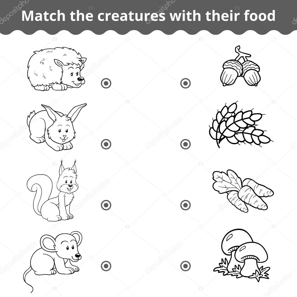 Matching game for children, forest animals and favorite