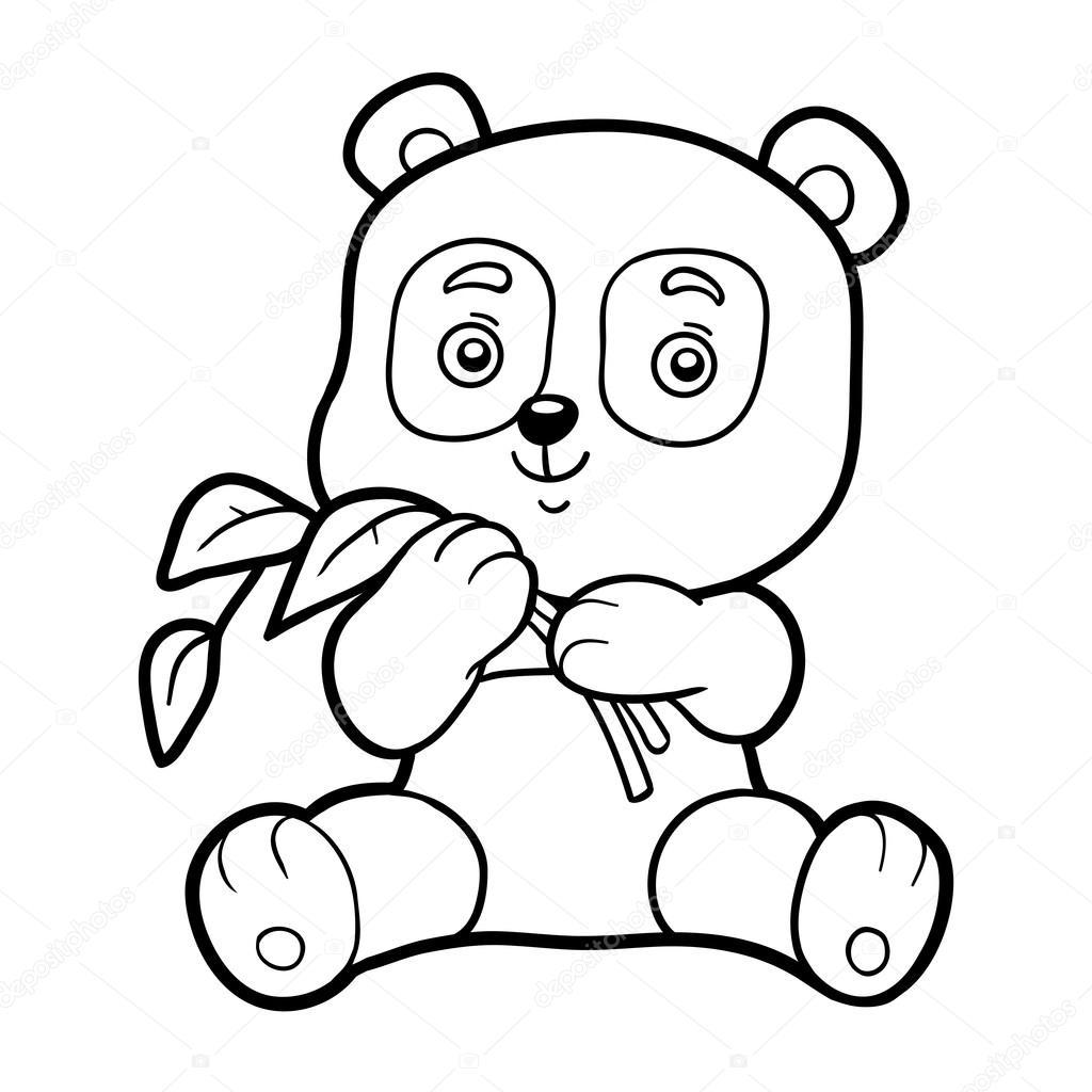 Libro da colorare per bambini, piccolo panda — Vettoriali