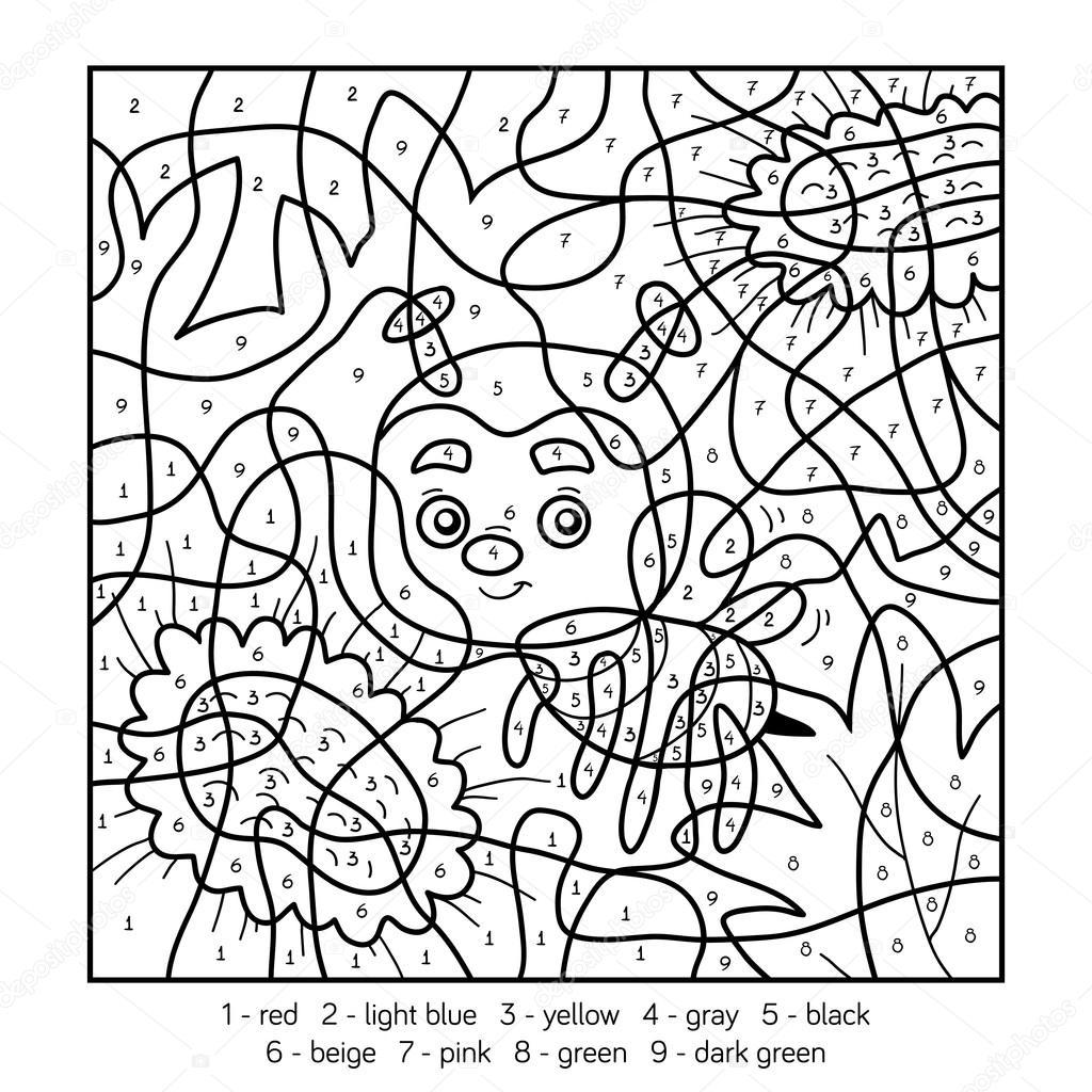 Kleuren Op Nummer Voor Kinderen Met Een Bee