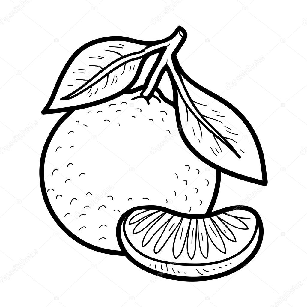 Coloring book: fruits and vegetables (mandarin) — Stock