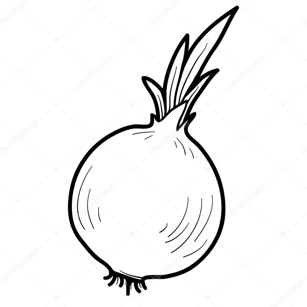 Coloring book: fruits and vegetables (onion) — Stock