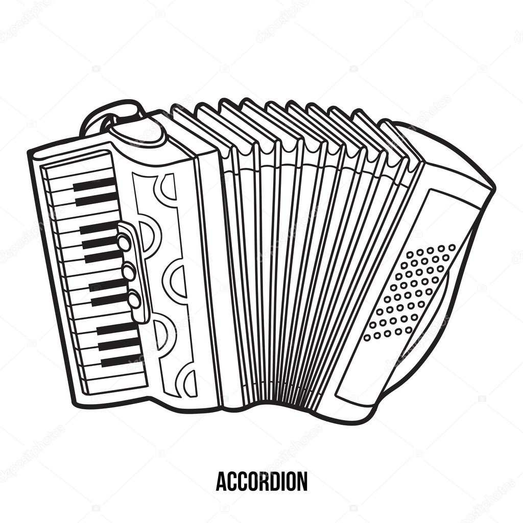 Coloring book for children: musical instruments (accordion