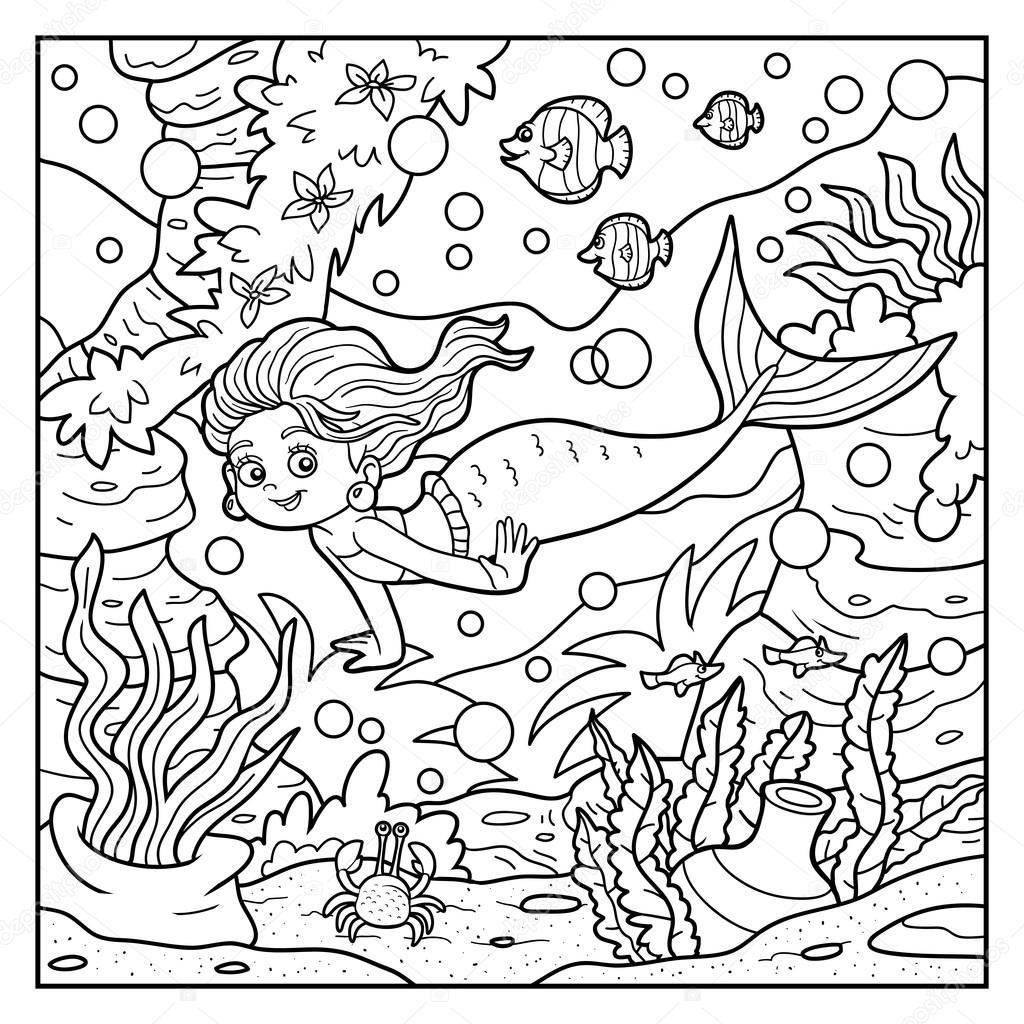 Libro da colorare: piccolo mondo sirena e mare