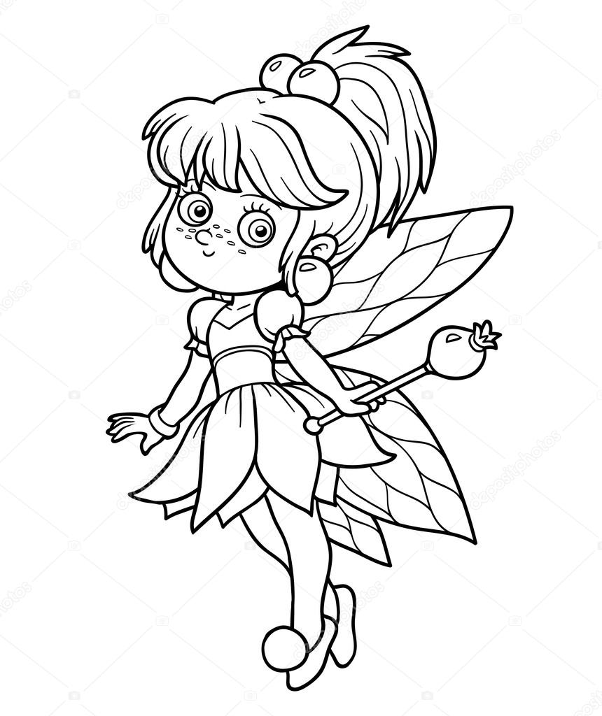 Coloring book for children: little fairy — Stock Vector