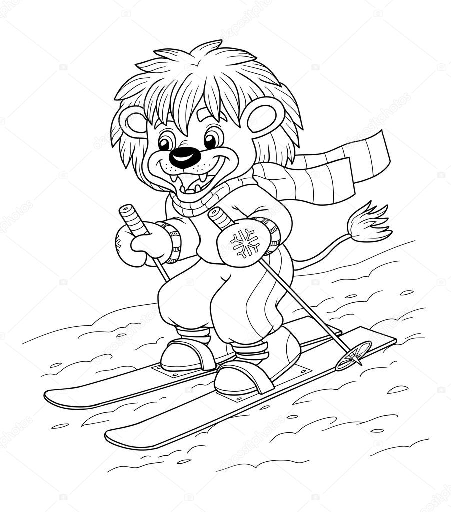 Coloring book for children: little lion skiing — Stock