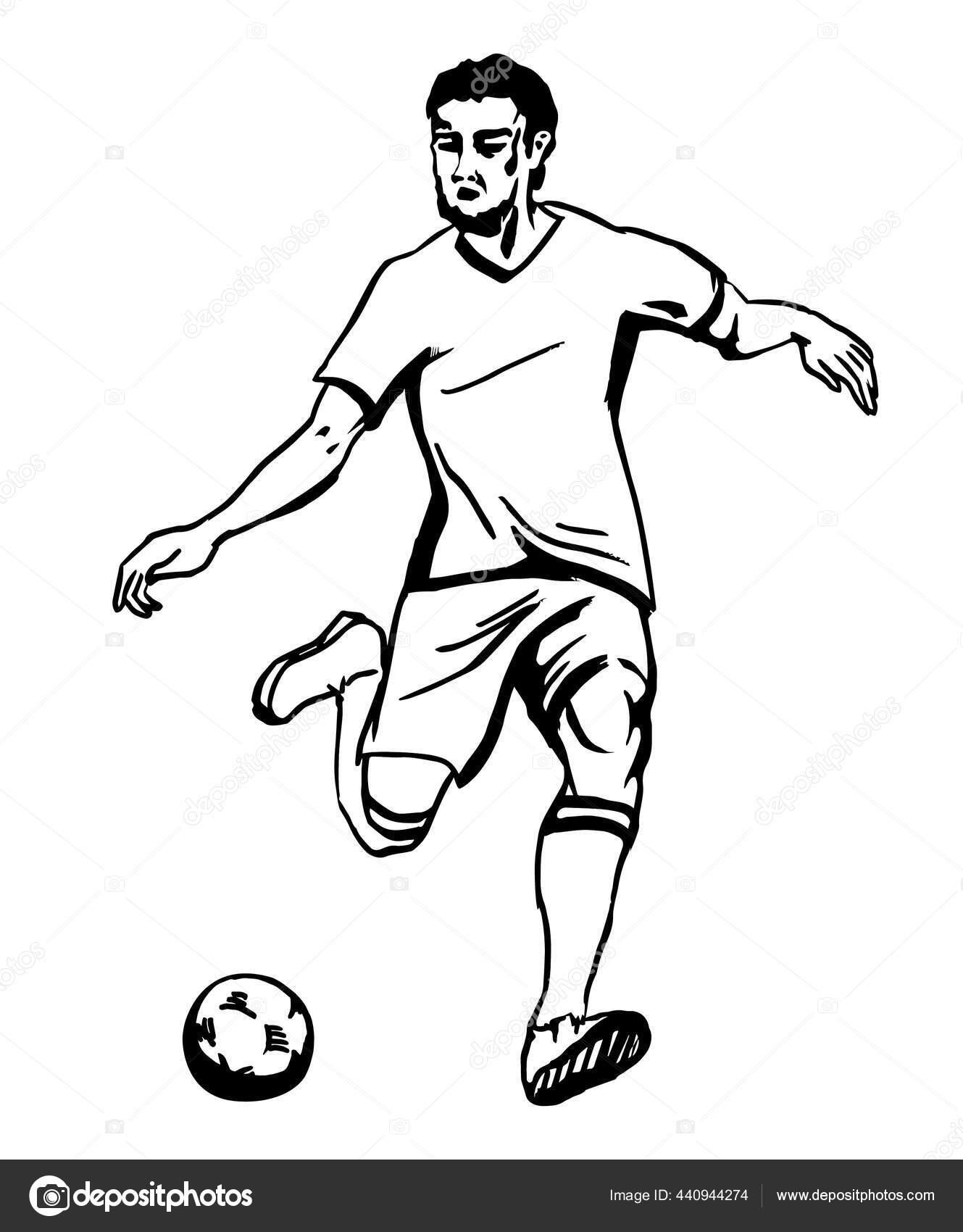 Menendang Bola : menendang, Orang, Berlari, Menendang, Sketsa, Anastasiya_Pratasavitskayaa, #440944274