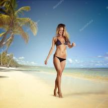 Girl Walking Barefoot Beach Stock