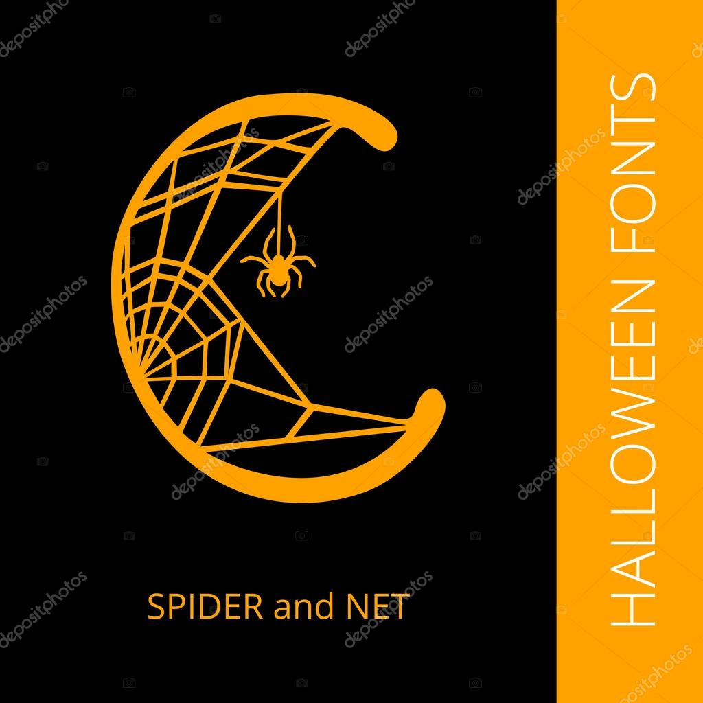 Halloween Alphabet Letter C Consist Of Spider And Net