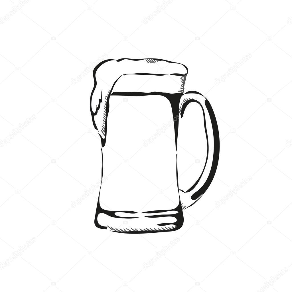 Outline Hand Drawn Beer Mug Vector Illustration