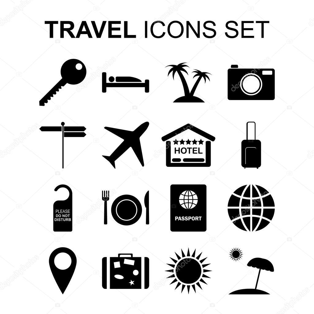Simbolos De Turismo E Conjunto De Icones De Viagens
