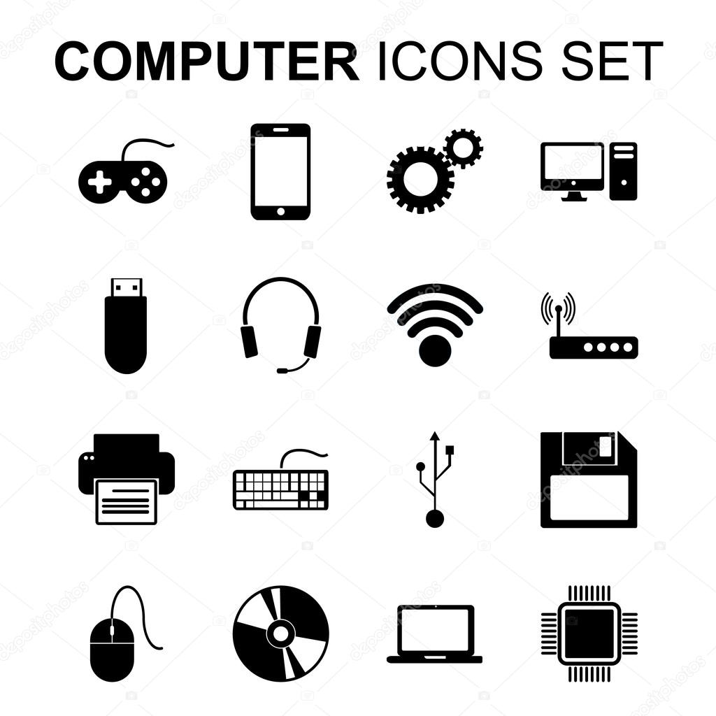 Computer Icons Set Technology Silhouette Symbols Vector