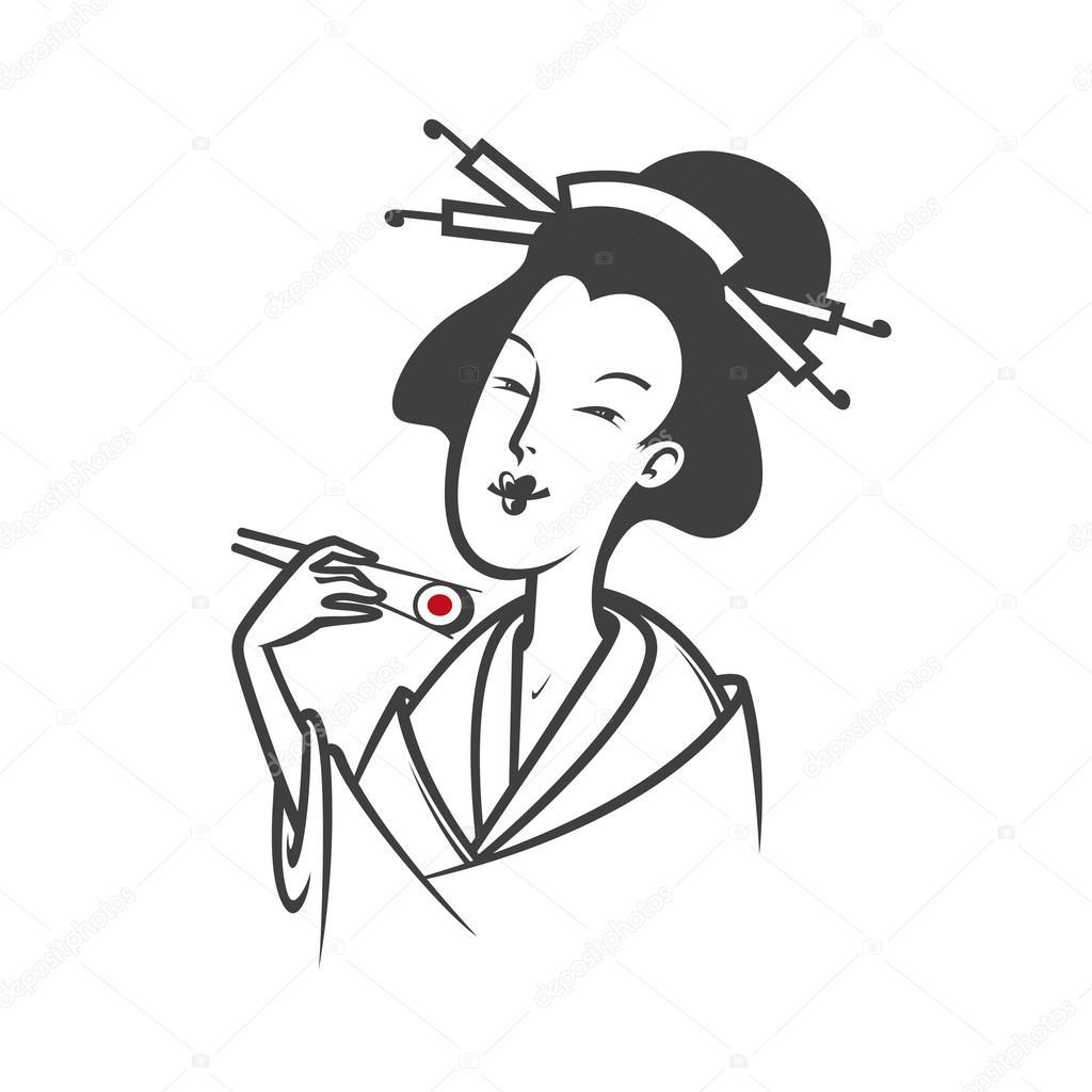 Japanese Woman Eating Sushi