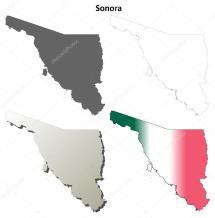 Sistema De Mapa Contorno En Blanco Sonora Archivo