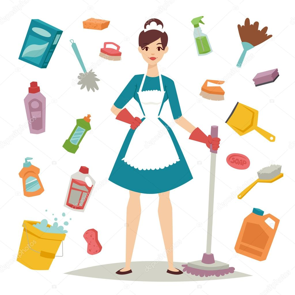 Limpiezas Del Hogar Housewife Girl And Home Cleaning Equipment Icon In Flat