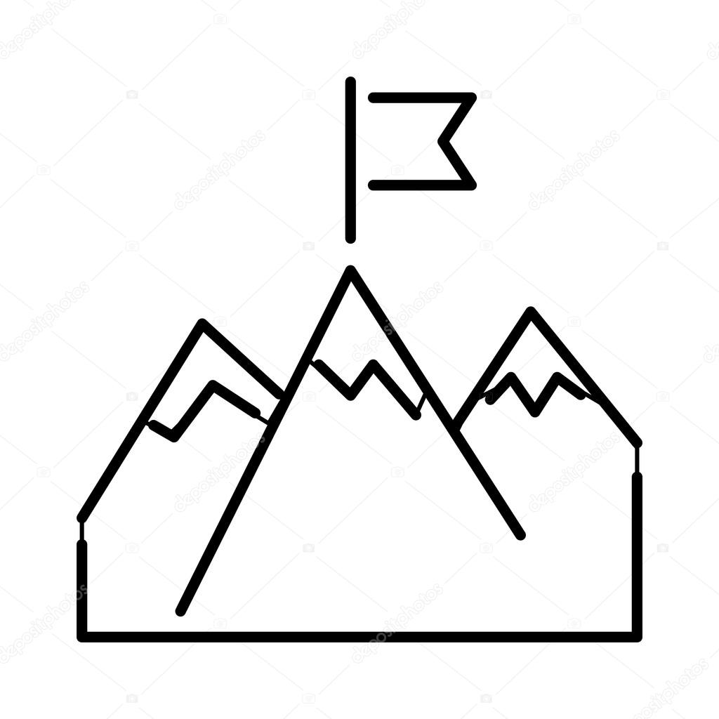 Line Mountains With Flag Arrow Success Icon Diagram Symbol