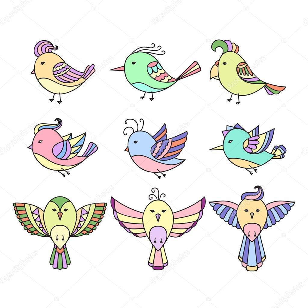 Set Of 9 Cute Birds In Vector Birds Doodle Collection