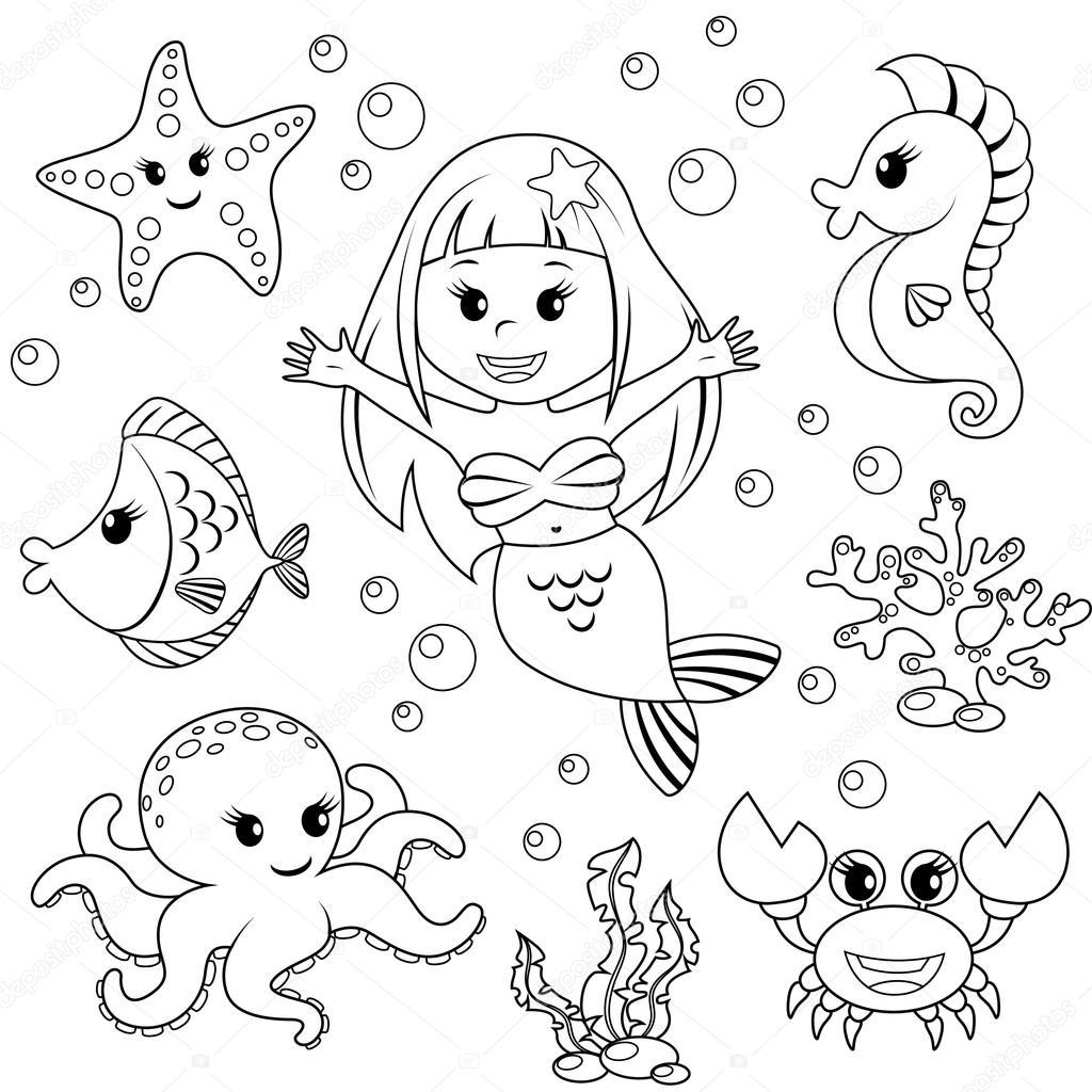 Sirena e mare animali. Pesci, stelle marine, polpi