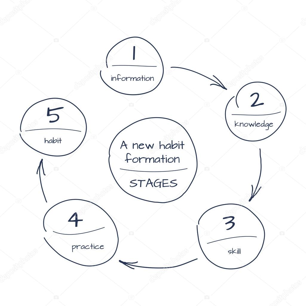 Hand Drawn Sketch Of Process Step By Step Diagram Of New