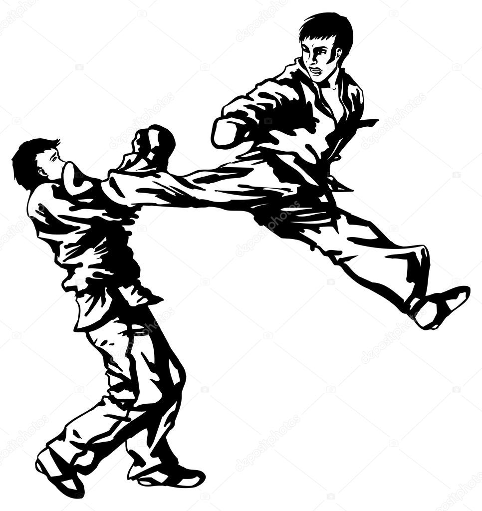 Karate fighting — Stock Vector © eokotnikova #52104681