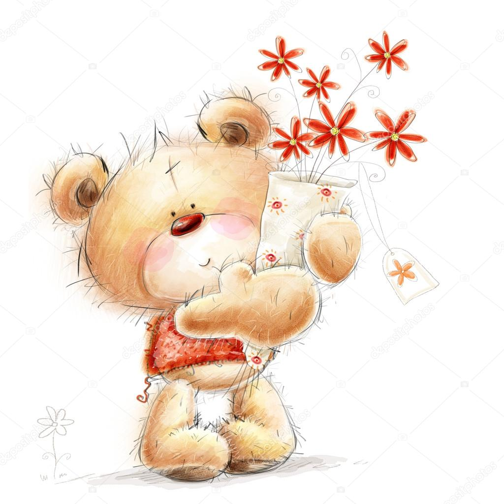 Cute Teddy Bear With The Red Flowers Background With Bear