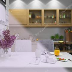 Kitchen Accent Table Wood Countertops 现代风格厨房室内设计的3d 渲染 图库照片 C Richman21 106547738