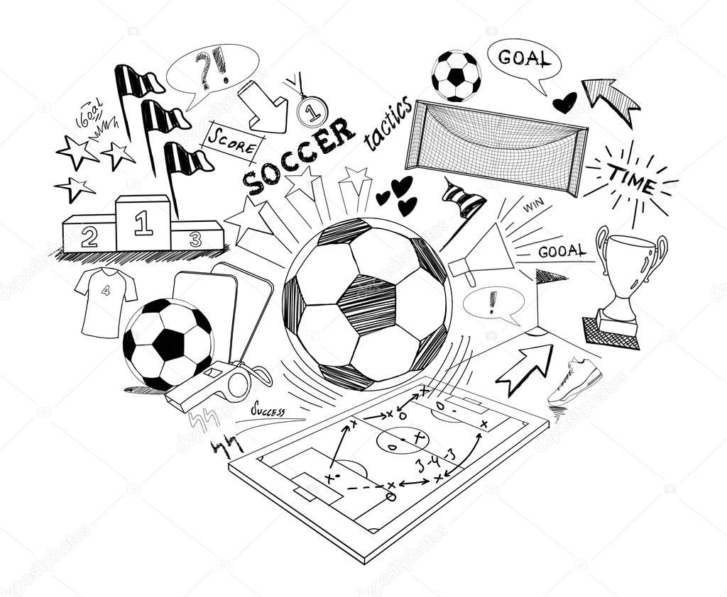 Voetbal Doodle Illustratie Illustratie