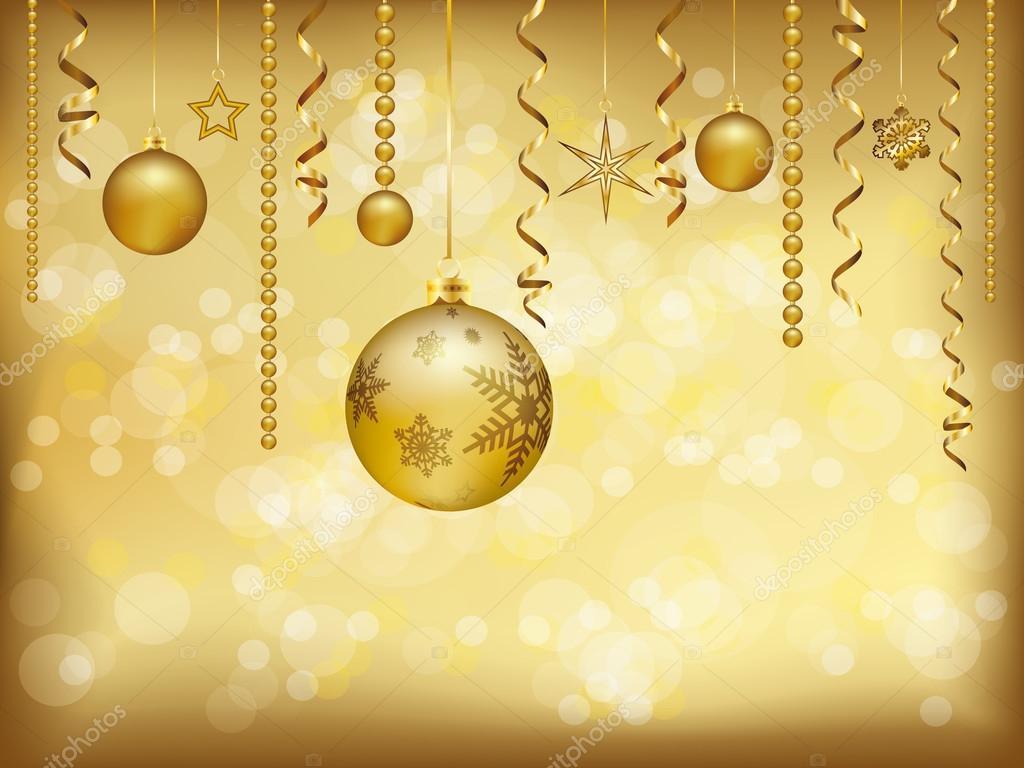 Elegante Carto De Natal Com Decorao De Natal Dourada