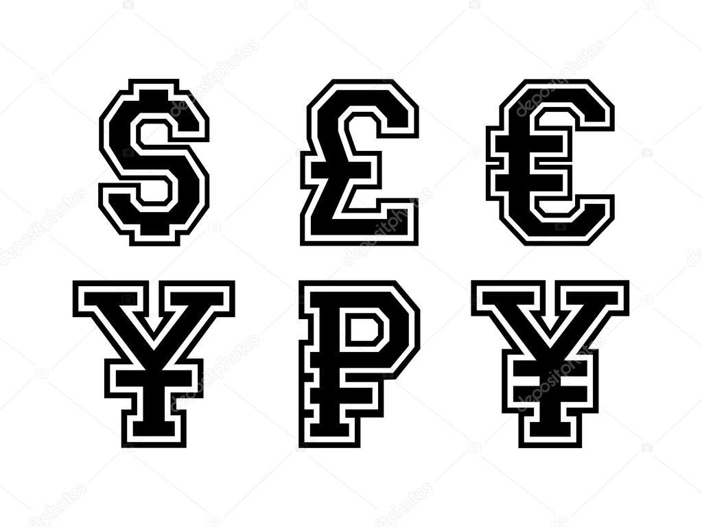 International currency symbols — Stock Vector