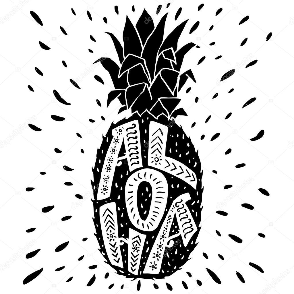 Aloha Lettering In Pineapple Silhouette