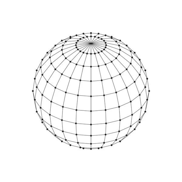 Wireframe 3D mesh polygonal sphere. Network line, HUD