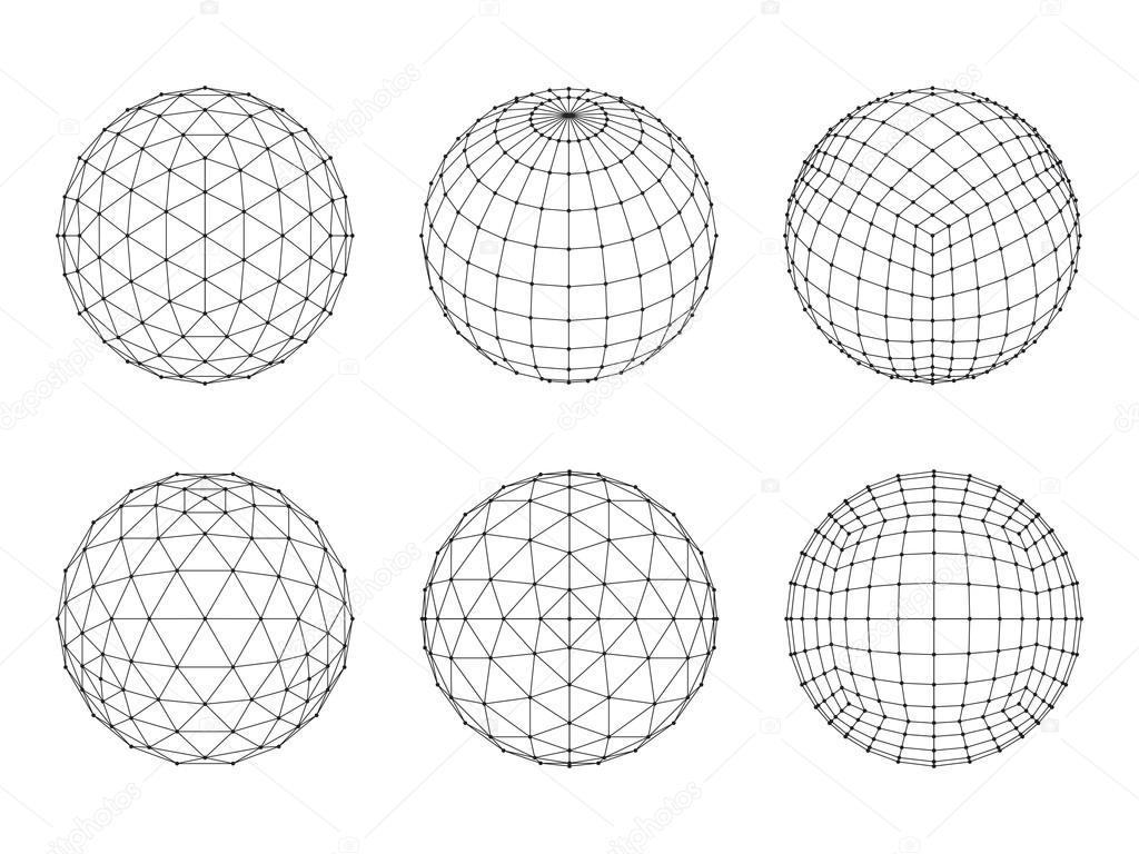 set of wireframe mesh