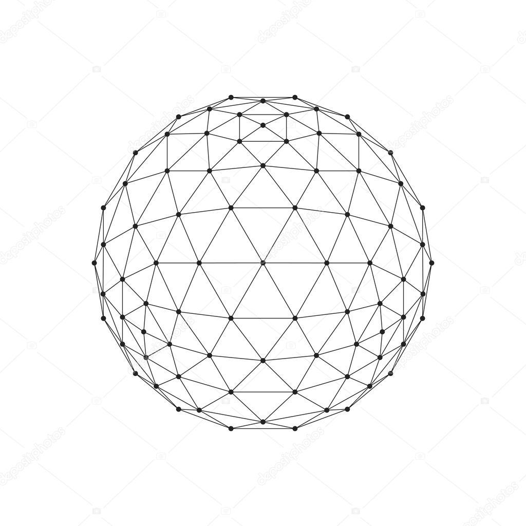 3d octahedron wireframe mesh
