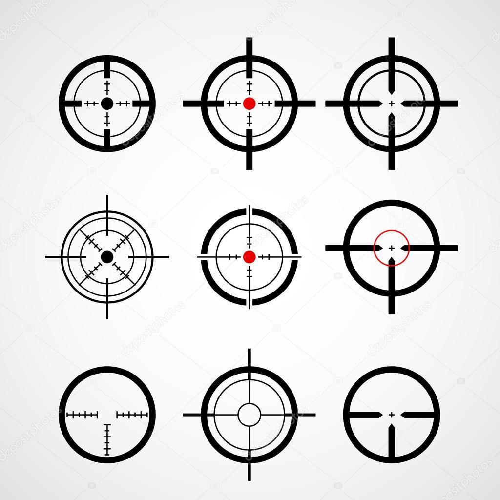 Crosshair Gun Sight Target Icons Set