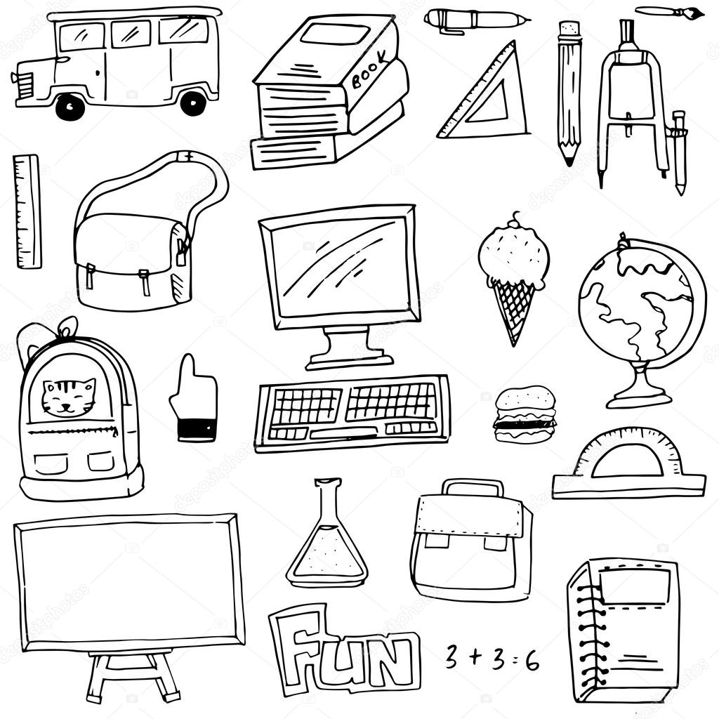 Hand draw school supplies doodles — Stock Vector