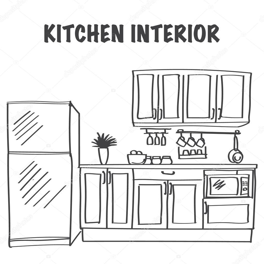 Sketch Of Modern Kitchen Interior