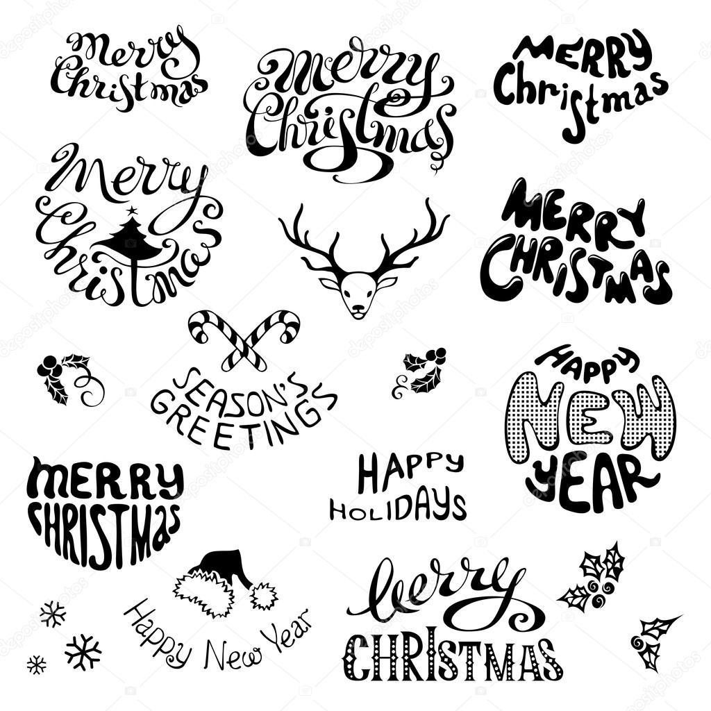 Kerst Iconen En Feestelijke Elementen